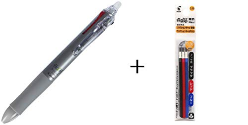 Pilot Frixion Multi Ballpoint Pen 3 0.38mm Black Red and Blue Ink Silver Body (LKFB-60UF-S)+ Refill Colors Set Black Blue Red 0.38mm (LFBTRF30UF3C) (Silver + Refill)