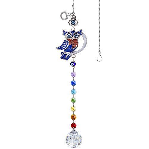 YU FENG Turkish Blue Evil Eye Owl Decor Hanging Crystal Suncatcher Ornament with Chakra Beads Clear Ball Prism Rainbow Maker Pendant