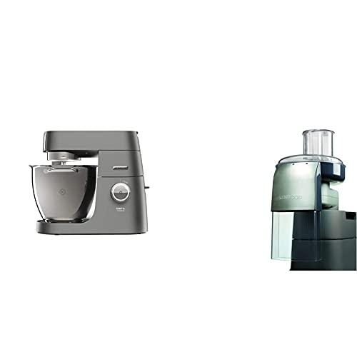 Kenwood Chef XL Titanium KVL8320S Küchenmaschine, 6,7 l Edelstahl Schüssel mit Innenbeleuchtung,1700 Watt & Schnitzelwerk AT340, Zubehör für Kenwood Küchenmaschinen, elektrischer Zerkleinerer