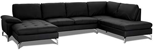 Ibbe Design - Sofá esquinero en forma de U de piel negra para salón, tapizado, con patas de metal, 320 x 260 x 100 x 84 cm