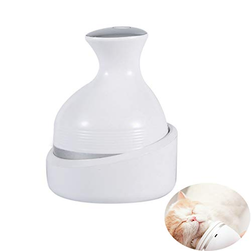 PSATO Automatic Pet Massager Electric Massage Instrument for Cat Dog 3D Kneading Artifact 360° Rotate Dragon Claw Cleaner Dust Wireless USB Charging,White