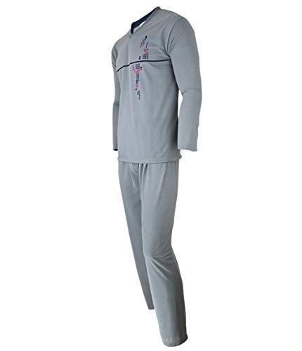Humy Herren Zweiteiliger Schlafanzug, Lange Pyjama im Set, Gestreifte Nachtwäsche...