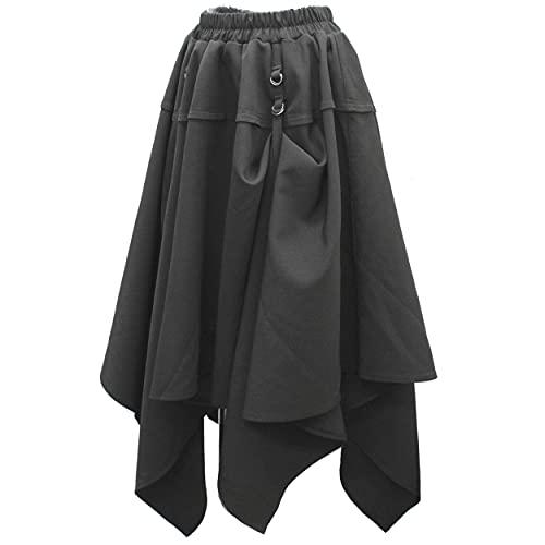 【Deorart ディオラート】STファブリック地 アジャスタ付 変形 ユニセックススカート DRT2565 (ブラック)