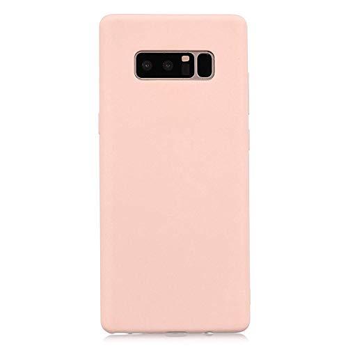 cuzz Funda para Samsung Galaxy Note 8+{Protector de Pantalla de Vidrio Templado} Carcasa Silicona Suave Gel Rasguño y Resistente Teléfono Móvil Cover-Rosa Claro