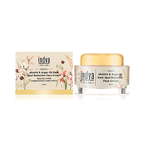 Indya Natural Dark Spot Reduction Blemishing Face Cream    Infused with Mulethi & Argan Oil    Fades out scars & Reduces dark spots -50ml