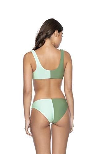 PQ Swim Women's Azura Two Tone Bikini Bottoms - Moderate Rise, Fuller Coverage - Full, Small
