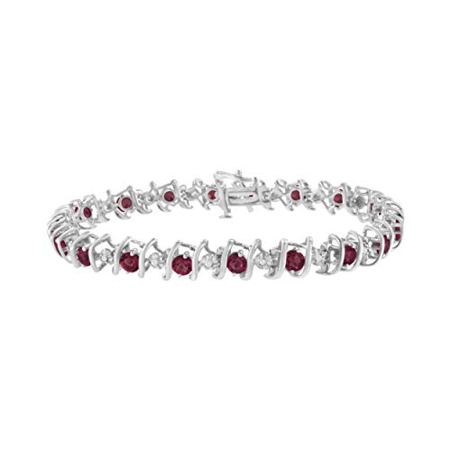 .925 Sterling Silver 1/6 Cttw Diamond & Lab-Grown Gemstone Tennis Bracelet (H-I Color, I1-I2 Clarity) - Created Ruby, July Birthstone