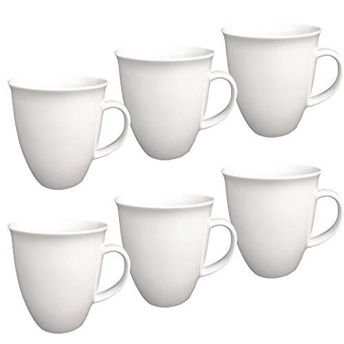 6 Stück Kaffeebecher Tassen groß 400 ml aus Porzellan Kaffee Becher Porzellantassen 6er Set Haushalt Gastronomie Geschirr, Tasse zum Bemalen oder Bedrucken geeignet