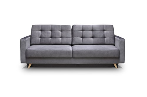 Vegas Futon Sofa Bed, Queen Sleeper with Storage, Grey