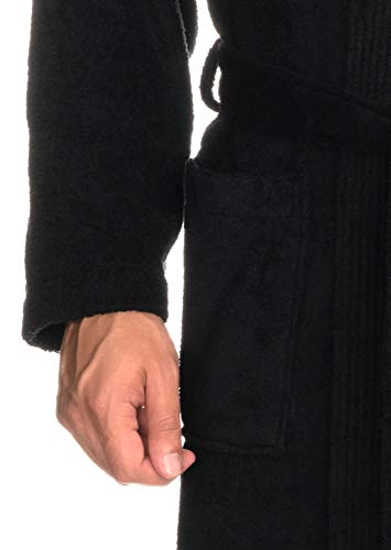 TowelSelections Men's Robe, Turkish Cotton Terry Kimono Bathrobe Large/X-Large Phantom Black