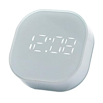 Pantalla de visualización compacta pero grande, tamaño: 88x29x12 4mm/3,46x1,14x4,88 pulgadas Con un soporte oculto retráctil y un imán en la parte posterior, fácil sincronización y tiempo de visión Este reloj despertador se puede alimentar con un cab...