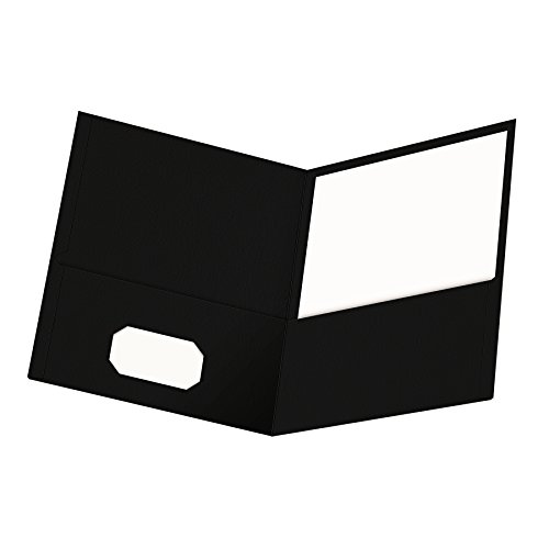 Oxford Twin-Pocket Folders, Textured Paper, Letter Size, Black, Holds 100 Sheets, Box of 25 (57506EE)