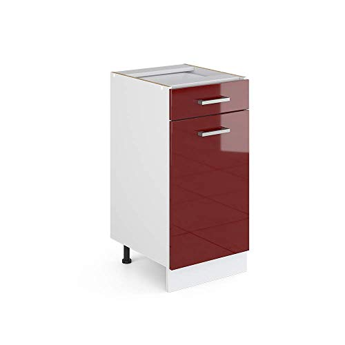 Vicco Küchenschrank R-Line Hängeschrank Unterschrank Küchenzeile Küchenunterschrank Arbeitsplatte, Möbel verfügbar in 6 Dekoren (Bordeaux ohne Arbeitsplatte, Schubunterschrank 40 cm)