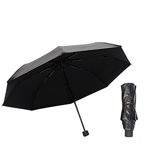 Sombrilla negra pequeña de doble capa, cola negra, sombrilla anti-ultravioleta, sombrilla de fibra de acero, resistente a la intemperie, paraguas de doble propósito, acero negro de 96 cm