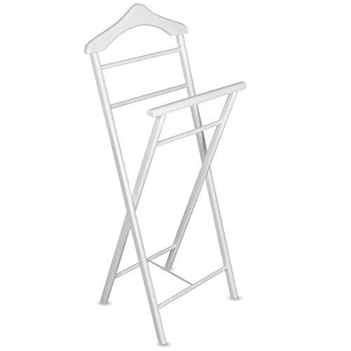 Staboos Stummer Diener aus Massiv Holz - klappbarer Herrendiener und Butler - fertig montierter Damendiener Kleiderständer in 3 Farben (Weiß)