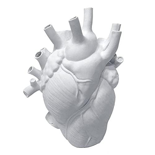 Estrella-L Jarrones, forma de corazón artificial decoración del hogar florero de resina, maceta de resina novedosa para oficina o granja de escritorio decoración del hogar (gran tamaño)