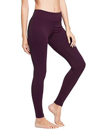 BALEAF Women's Ankle Legging Athletic Yoga Hiking Workout Running Pants Inner Pocket Non See-Through Dark Magenta Size XS