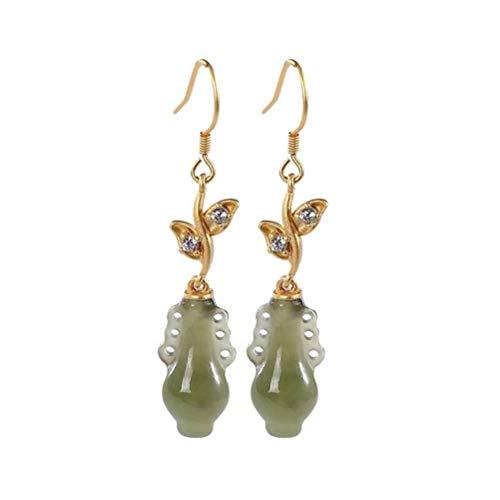 WOZUIMEI Chinesische Ohrringe Eardrop S925 Sterlingsilber Vergoldet Nephrit Saphir Persönlichkeit Vase Alten Stil Temperament Weibliche OhrringeWie gezeigt