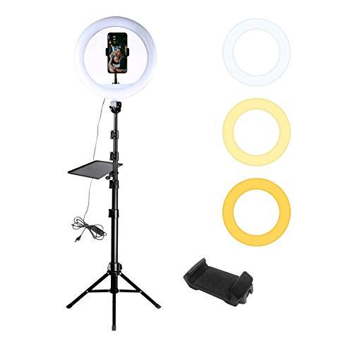 Anillo de luz LED de 12 'con trípode ajustable de 66,12', soporte para teléfono y enchufe USB para maquillaje, fotografía y video en vivo