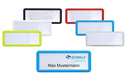 Edles Namensschild aus Kunststoff mit Magnet Name Badge für die Kleidung selbstbeschriftbar (blau, 60 x 20 mm)