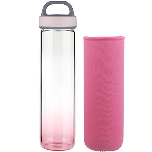 Life4u Botella de Agua de Cristal de Borosilicato Botella de Agua de Vidrio Sin BPA 1000 ml / 1 litro (Rosa)