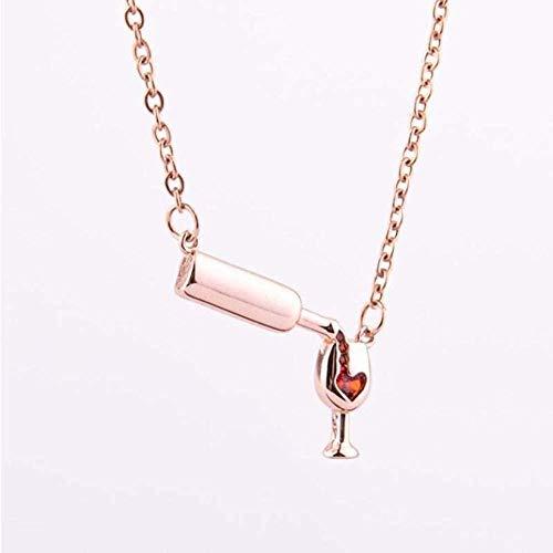 AOAOTOTQ Co.,ltd Halskette Einfache Weinglas Anhänger Halskette Damen Bierflasche Halskette