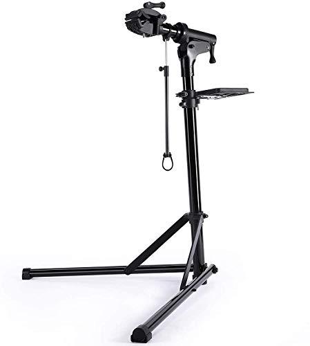 CXWXC Cavalletto per Riparazione Bici, Supporto per Manutenzione Bicicletta in Alluminio, con Vassoio Porta Utensili Magnetico, Regolabile, Leggero, Portatile Nero (Nero)