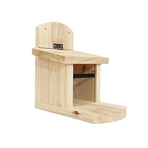 LAOLEE Eichhörnchen-Futterhaus aus Holz mit Deckel, einfach zu befüllen, solide Struktur, Eichhörnchen-Futterspender für draußen, Holz, Eichhörnchen-Futterspender für draußen