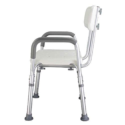 Z-SEAT Taburete de Ducha portátil Silla de baño Banco de Ducha Ajustable con Respaldo Ajustable y apoyabrazos para Movilidad Pies de Goma Antideslizantes