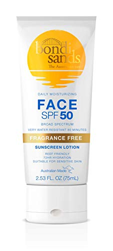 Bondi Sands Fragrance Free Daily Sunscreen Face Lotion SPF 50 | Hydrating UVA + UVB Protection, Non-Greasy, Gentle, Water Resistant | 2.53 Oz/75 mL