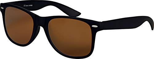 Hochwertige UV400 CAT 3 CE Nerd Sonnenbrille matte Rubber Retro Vintage Unisex Brille mit Federscharnier für Herren und Damen - 100 verschiedene Farben/Modelle wählbar (Schwarz - Braun.)