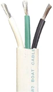 12/3 AWG Triplex Tinned Marine Wire, Black/Green/White 100 Feet