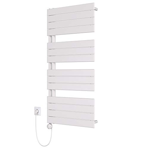 HEATSUPPLY® Design Badheizkörper elektrisch 1.222 x 600 Paneel Handtuchtrockner weiß inkl. Handtuchwärmer Heizstab 600 Watt mit Smart Heizstab