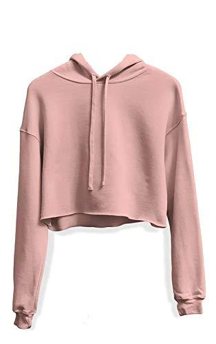 Moletom Feminino Blusa Cropped Liso Com Capuz Cor:Rosa;Tamanho:M