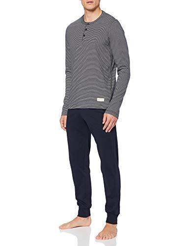 Marc O'Polo Body & Beach Herren M-LOUNGESET LS Henley Pyjamaset, Nachtblau, L