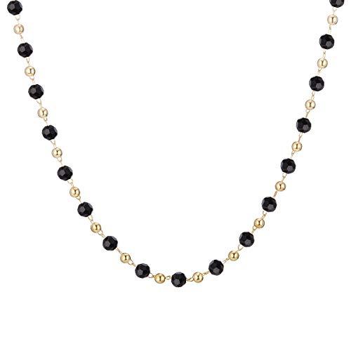 Ouran, Collana girocollo da donna, multicolore con ciondolo a catena lunga, ideale come regalo per ragazze, mamma, amiche e Lega, colore: Perlina nera., cod. XL-0724