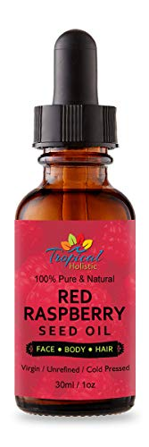 Pure Red Raspberry Seed Oil 1oz by Tropical Holistic, 100% Premium Natural for Face, Hands, Scars, Breakouts