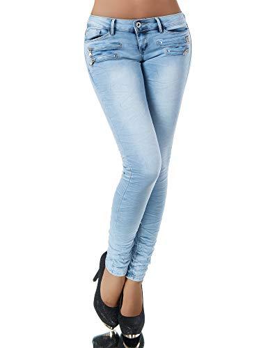 Damen Jeans Hose Hüfthose Damenjeans Hüftjeans Röhrenjeans Röhrenhose Röhre L851, Farbe: Hellblau, Größe: 36