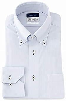 [アイシャツ] i-shirt 完全ノーアイロン ストレッチ 超速乾 スリムフィット 長袖 アイシャツ ワイシャツ メンズ ノンアイロン 059 サックス ボタンダウン ピケストライプ M15118004481 LL86(首回り43cm×裄丈86cm)
