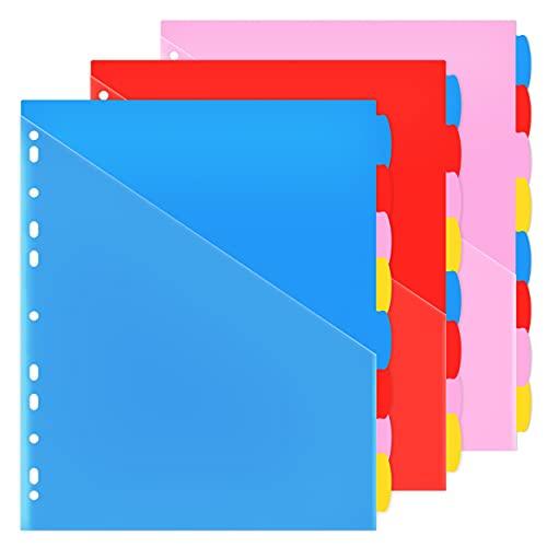 Binder Dividers with Front Pocket Binder Index Dividers 8-Tab Set Pack of 3 Sets Multicolor Tab dividers Plastic Binder Dividers with Tabs