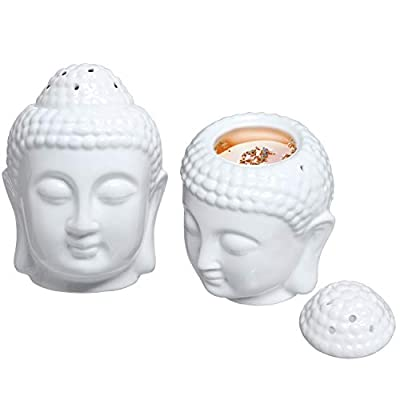 MyGift Translucent White Ceramic Buddha Head Tealight Candle Holder