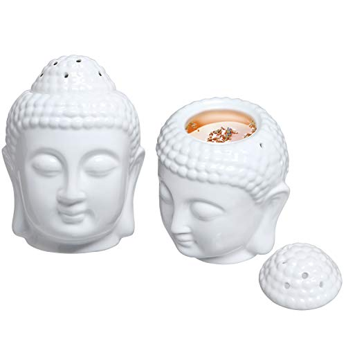 MyGift Translucent White Ceramic Buddha Head Statue Tealight Candle Holder and Aromatherapy Oil Burner Diffuser, Set of 2