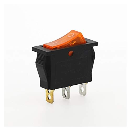 XIAOZSM Interruptores Interruptor 4pcs KCD3 Rocker ON-Off 2 Posición Equipo 3 Pin eléctrica con el Interruptor de luz 16A 250VAC / 20A 125VAC Car (Color : Yellow)