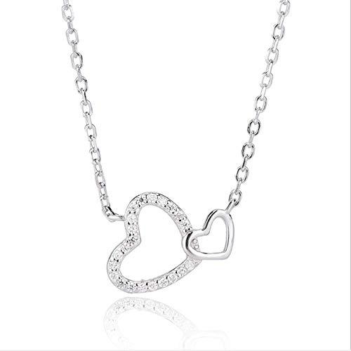 S925 Sterling Zilveren Ketting Micro Ingelegd Hart Hanger Sleutelbeen Ketting Dames Dubbele Liefde Ketting Witgoud