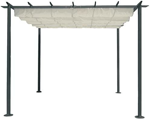 Gazebo o veranda per il giardino, in acciaio, scorrevole, con copertura marrone, 350 cmx 250 cmx 225cm