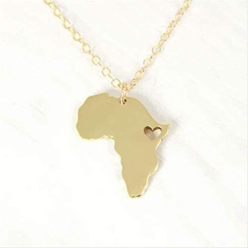 JSYHXYK Collar Collar Collar Esquema Mapa De África con Corazón Collar País Mapa De Sudáfrica Collar Etiopía África Collares