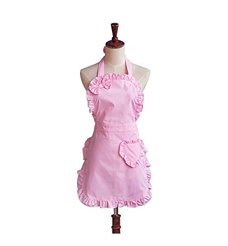 Cute Girls Bowknot Lady's Kitchen Restaurant Women's Cake Apron Fashion Funny Aprons (Pink)