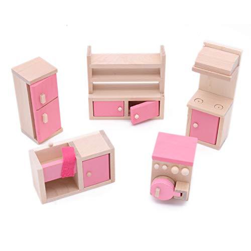 POFET Set di mobili per casa di Bambola in Legno Giocattolo per Bambini Bambini Bambini Frigo Lavandino Armadio Stufa Lavatrice Cucina Cucina