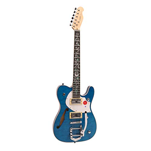 ZUWEI Semi Hollow Electric Guitar Custom Shop 22 Frets, Maple Top Purplewood Fingerboard Canada Maple Neck Flower Inlay with Bigsby Bridge(Blue)