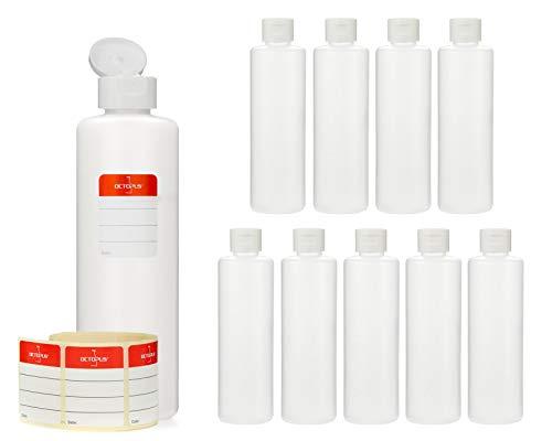 10 botellas de plástico de Octopus de 250 ml, botellas de plástico de HDPE con tapones abatibles blanco, botellas vacías con tapa abatible blanco, botellas redondas con etiquetas para marcar